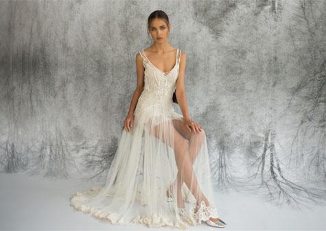 שמלת כלה מיני ובד שיפון