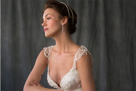 שמלת כלה עם פנינים במראה עדין