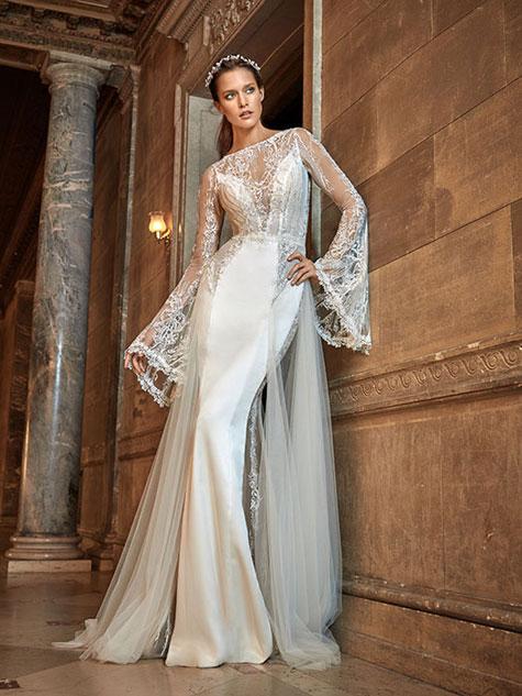 שמלת כלה בשילוב בדים רכים