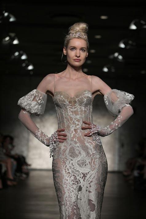 שמלת כלה כתפיות בדוגמת מחוך