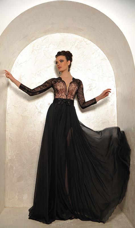 שמלת ערב שחורה ואלגנטית